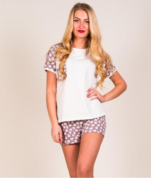 Пижама Б27 (белая + сердечки)