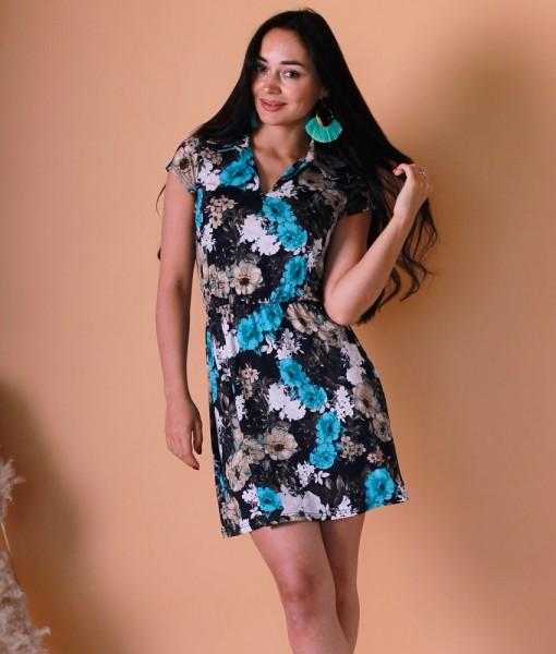 Платье Д489 (голубые цветы)