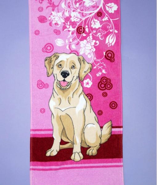 Полотенце Е9П (собака на розовом)